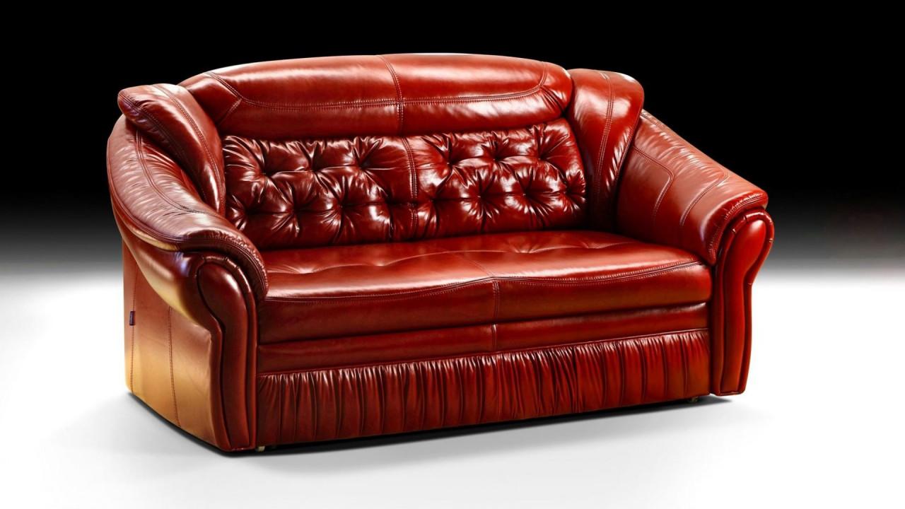 Прямой диван ШИК 640 красная кожа