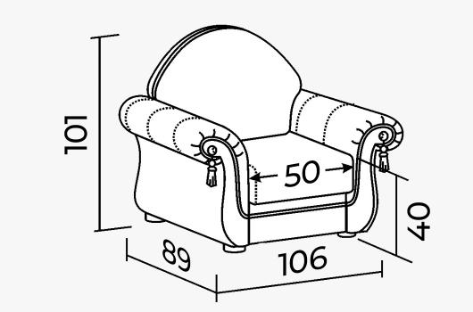 Размеры -  Кресло ШИК 247 белый