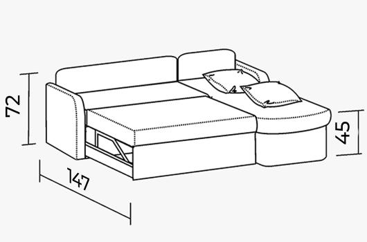 Размера - Угловой диван ШИК 414 brown