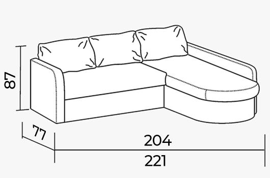 Размеры - Угловой диван ШИК 414 brown