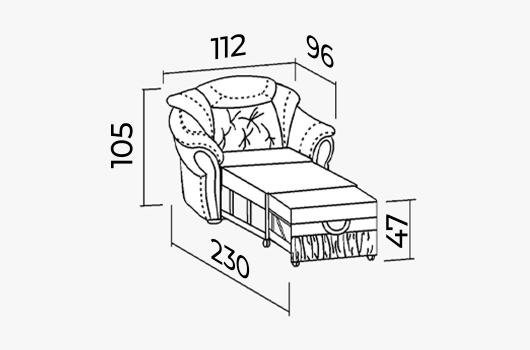 Размеры - Кресло-кровать ШИК 640к бело-синяя кожа