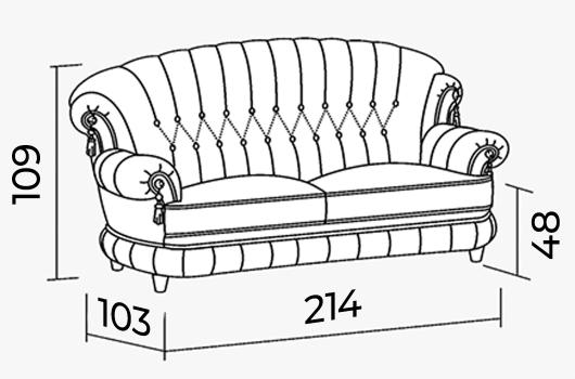 Размеры - ШИК 701  светло-серый (03 с креслом 04)