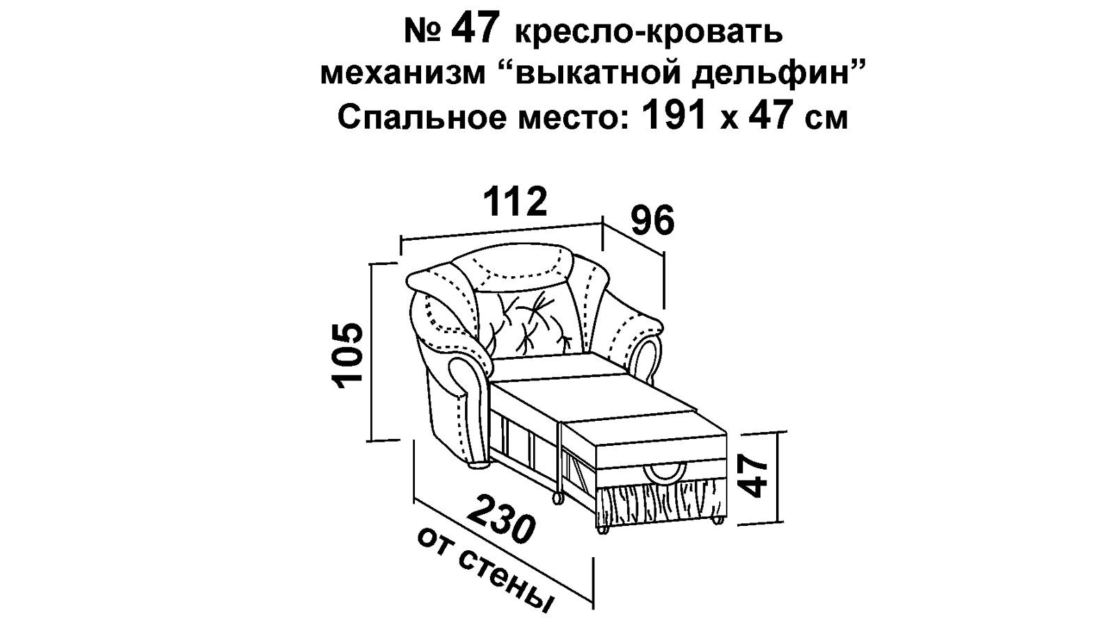 Мягкое кресло-кровать ШИК 640 бело-синий